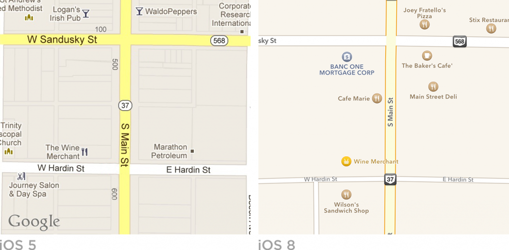 iOS 5 and iOS 8 Maps app iconography