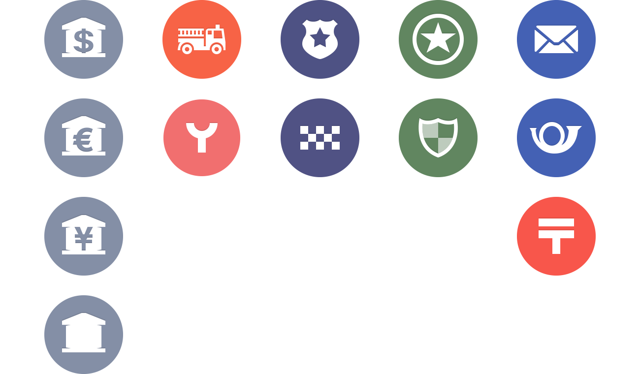Spotlight location icons for Banks, Fire Departments, Police Departments, Military Bases, and Post Offices