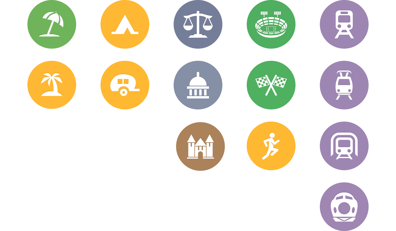 Spotlight location icons for Beaches, Campgrounds,  Public Services, Stadiums, and Train Stations