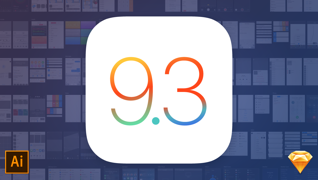 iOS 9 vector UI kit for Adobe Illustrator and Sketch